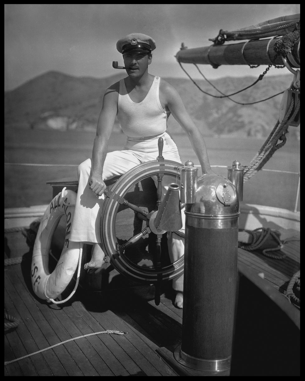 Ramon Novarro on Yacht c.1925 from original 8x10 negative