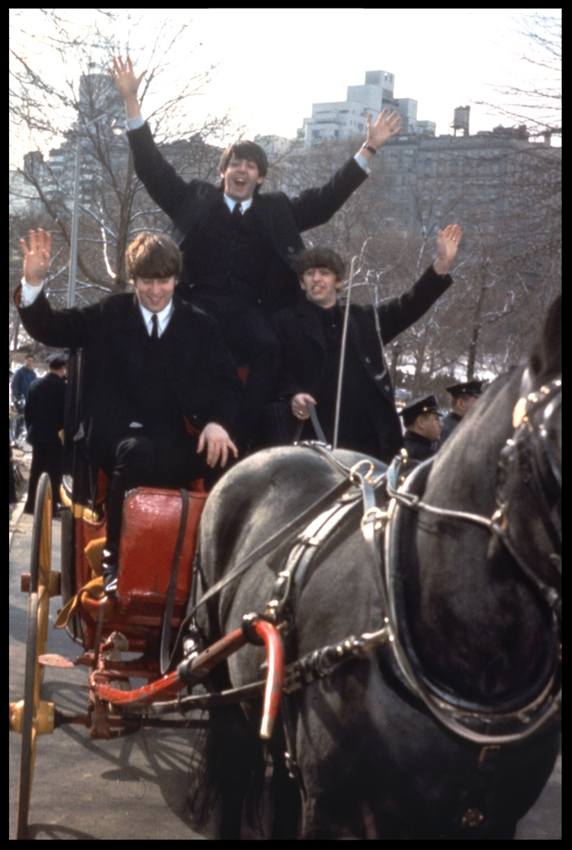 The Beatles minus George Harrison ( he was ill ) in Central Park on the first US Tour Feb 8,1964 from original 35mm transparency