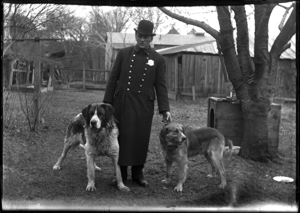 Police Officer with K-9 c.1900 from original 5x7 glass plate negative