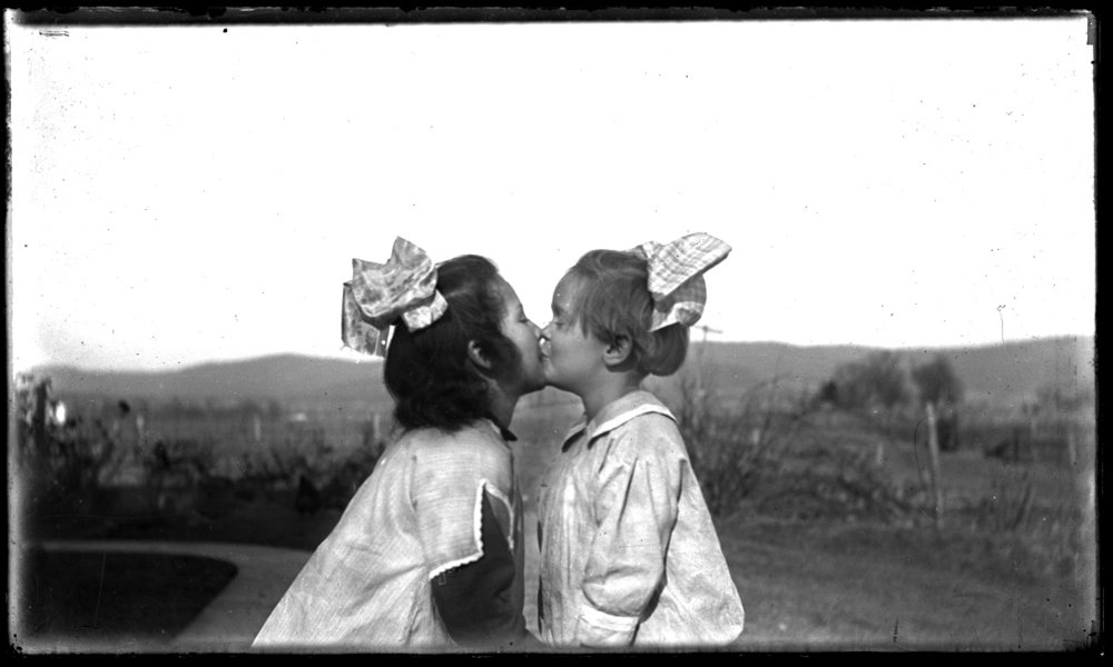 Kissing Girls c.1910 from original 5x7 glass plate negative
