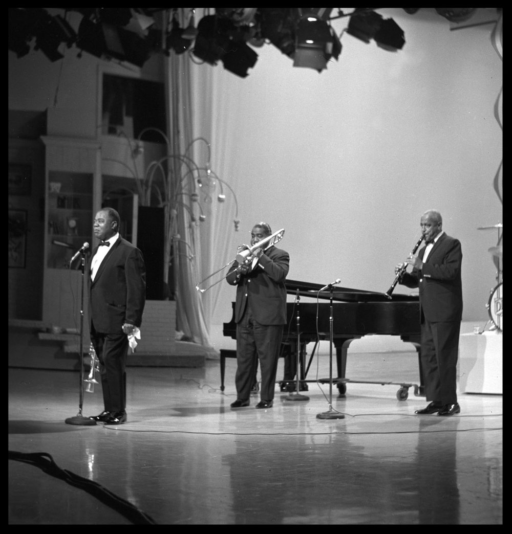 "Louis Armstrong "" Satchmo "" on Stage c.1957 from original 2.25 negative"