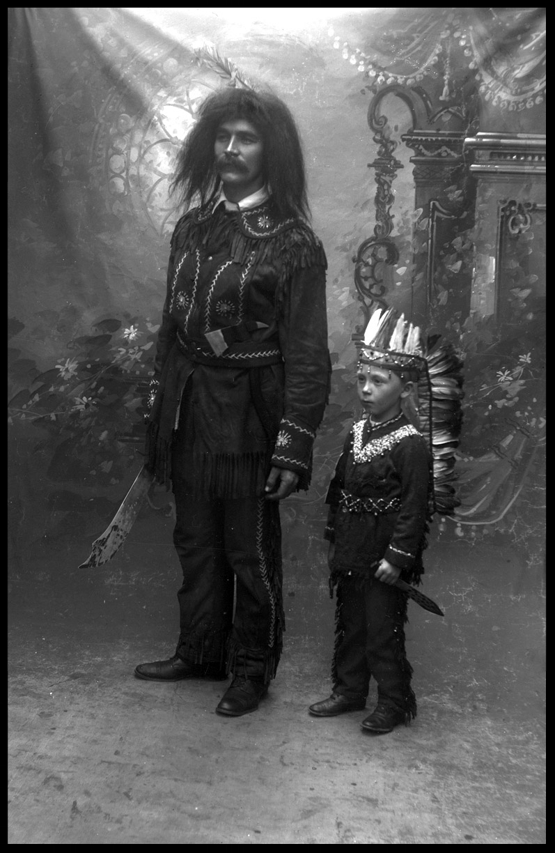 Father & Son in Native American Costumes c.1900 from original 5x7 glass plate negative