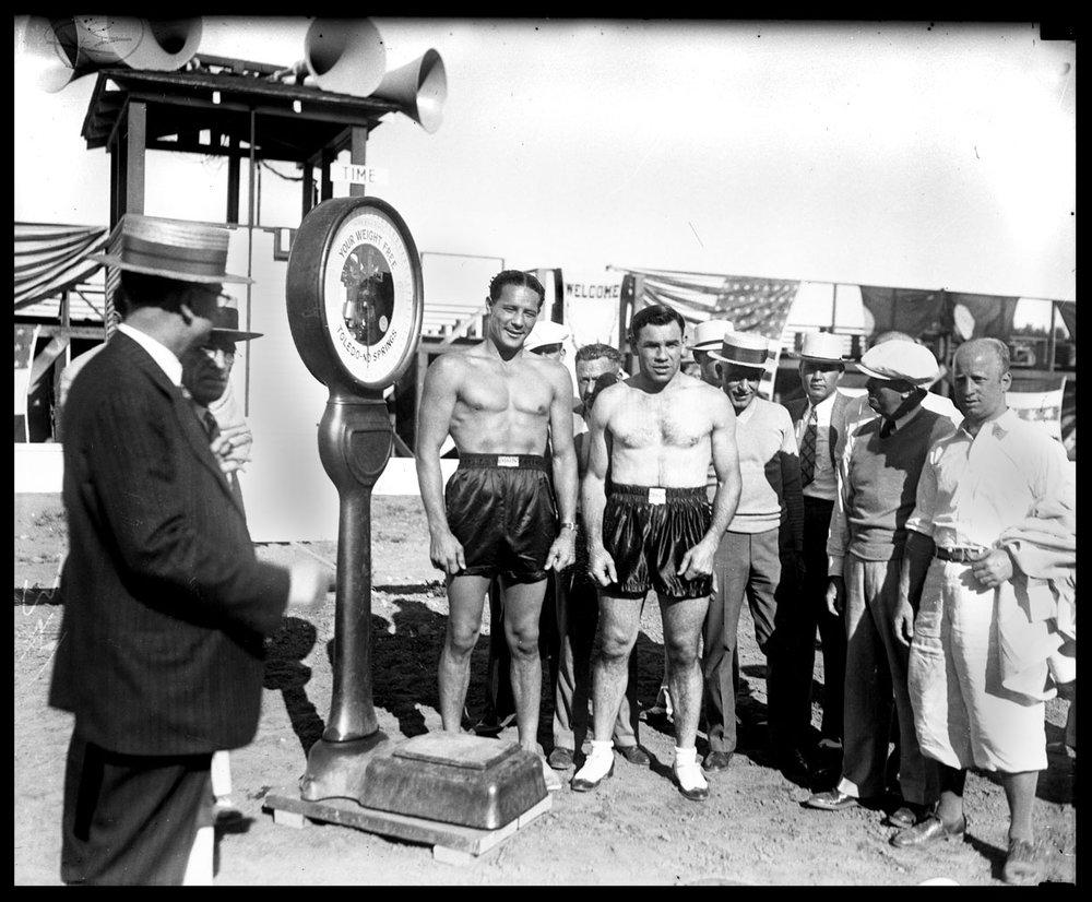 Max Baer & Paulino Uzcudun Weigh-in c.1931 from original 4x5 glass plate negative