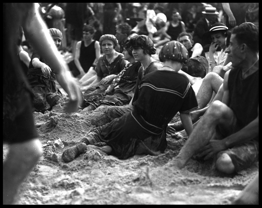 Coney Island Beach c.1918 from original 4x5 negative