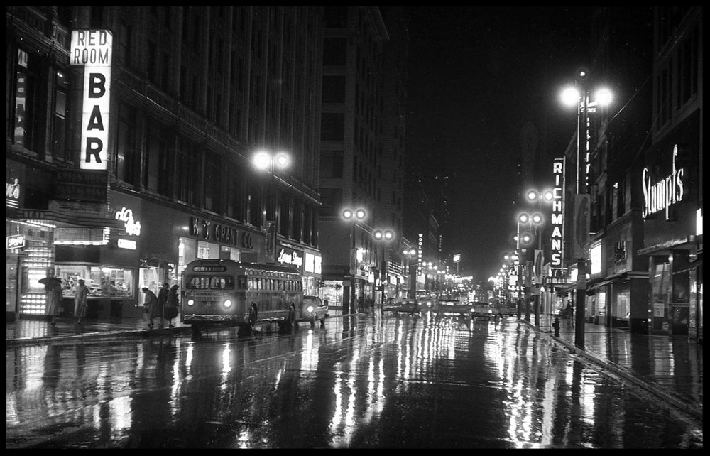 Night Scene c.1950 from original 4x5 negative