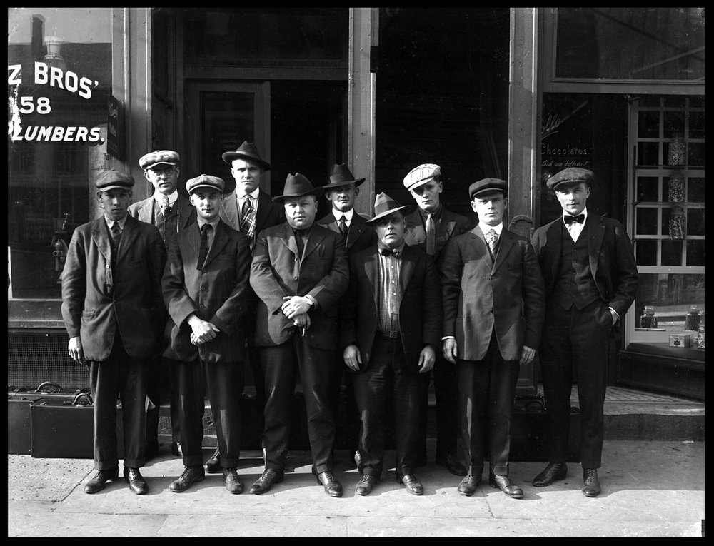 The Plumbers, A Group of Gangsters with an Al Capone Look alike c.1920 from original 5x7 glass plate negatve