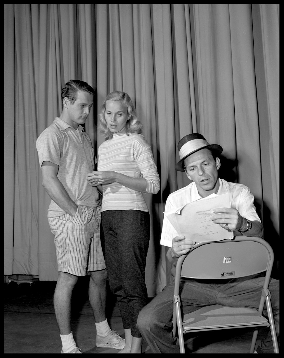 Paul Newman, Eva Marie Saint, & Frank Sinatra c.1955 from original 4x5 negative