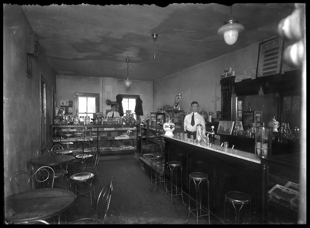 Soda Shop c.1920 from original 4x5 negative