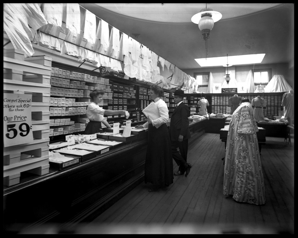 Corset Shop c.1910 from original 8x10 glass plate negative