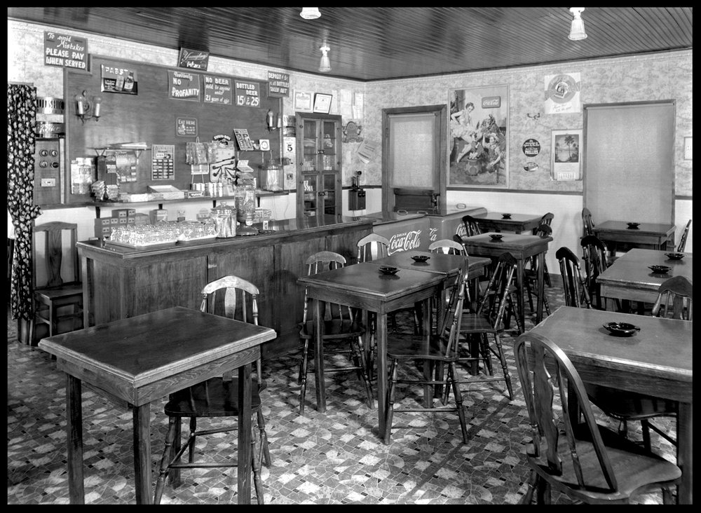 Diner c.1920 from original 8x10 glass plate negative