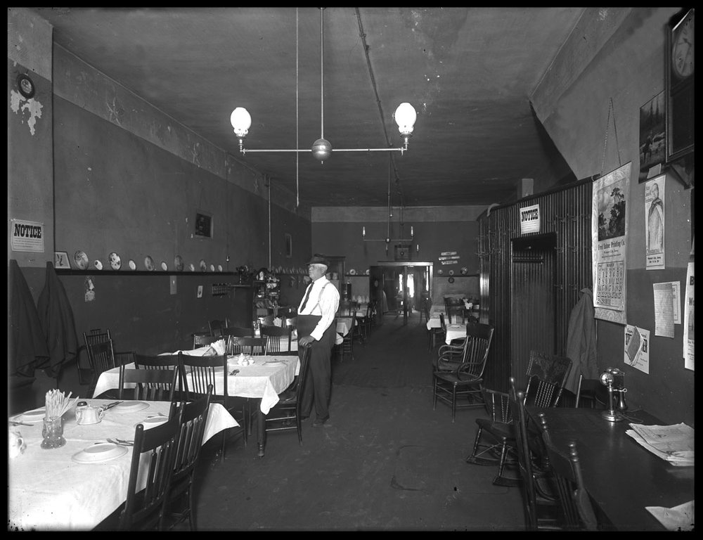 Restaurant c.1910 from original 4x5 glass plate negative