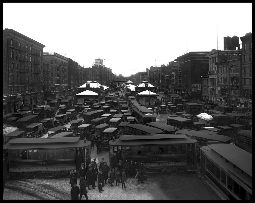 Delancey St at The Williamsburg Bridge c.1915 from original 8x10 glass plate negative
