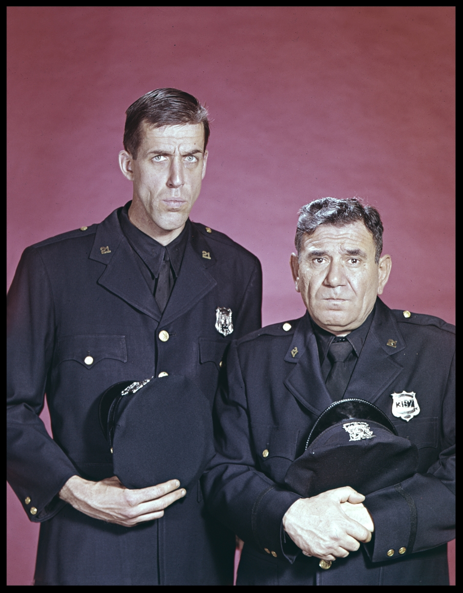 Fred Gwynnes & Joe E Ross as NYPD Officers in Car 54 Where are You c.1961 from original 4x5 transparency