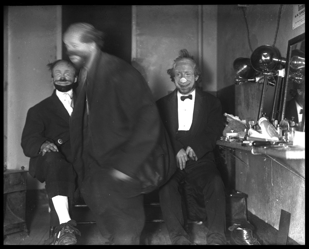 Lengendary Vaudville Clown Joe Jackson ( Josef Francis Jiranek ) on left backstage with friends c.1920 from original 4x5 glass plate negative