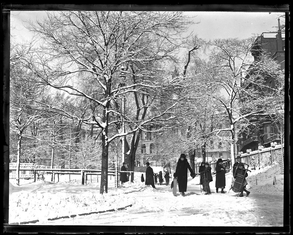 Snowy Boston c.1912 from original 4x5 glass plate negative