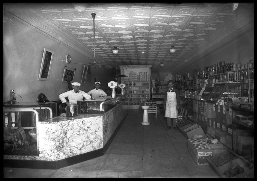 Butcher Shop Interior c.1920 from original 5x7 glass plate negative