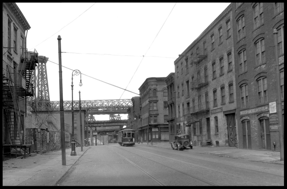 Kent Ave & Williamsburg Bridge c.1930 from original 5x7 negative #williamsburgbridge #kentave #vintagebrooklyn