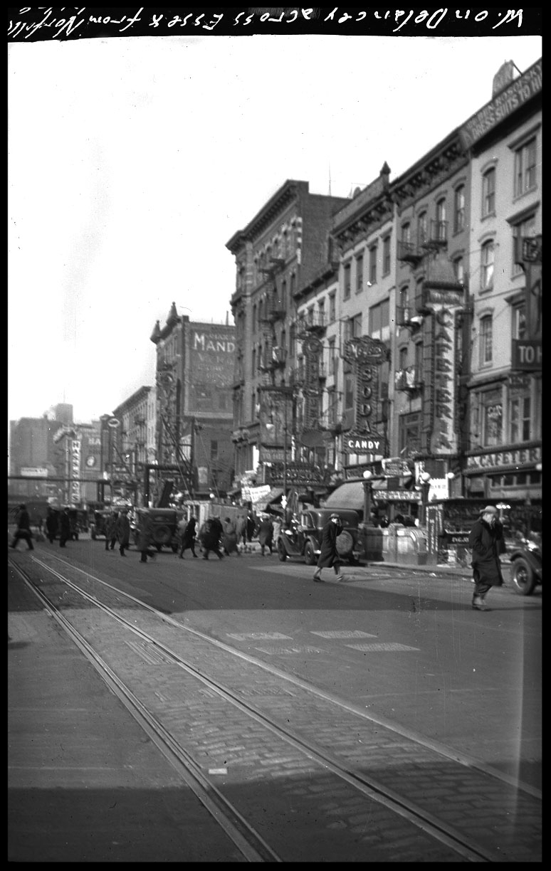 Delancey St & Essex Lower East Side Manhattan c.1929 from original 4x5 negative