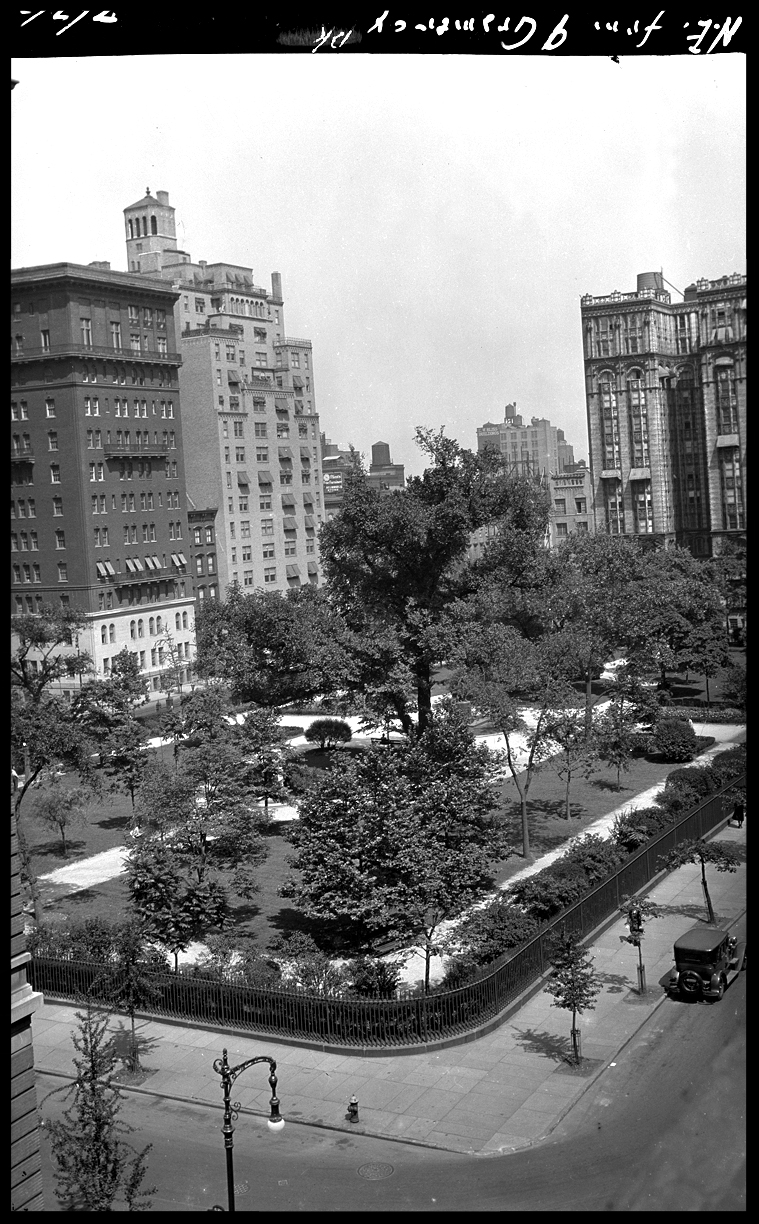 Gramercy Park c.1927 from the original 4x5 negative