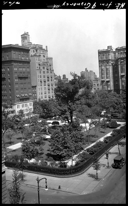 Gramercy Park c.1927 from the original 4x5 negative