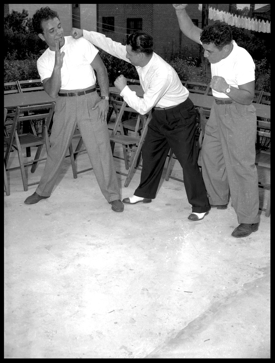 """Raging Bull"" Jake Lamotta ( Left ) Clowning Around With Friends c.1945 from the original 4x5 negative"
