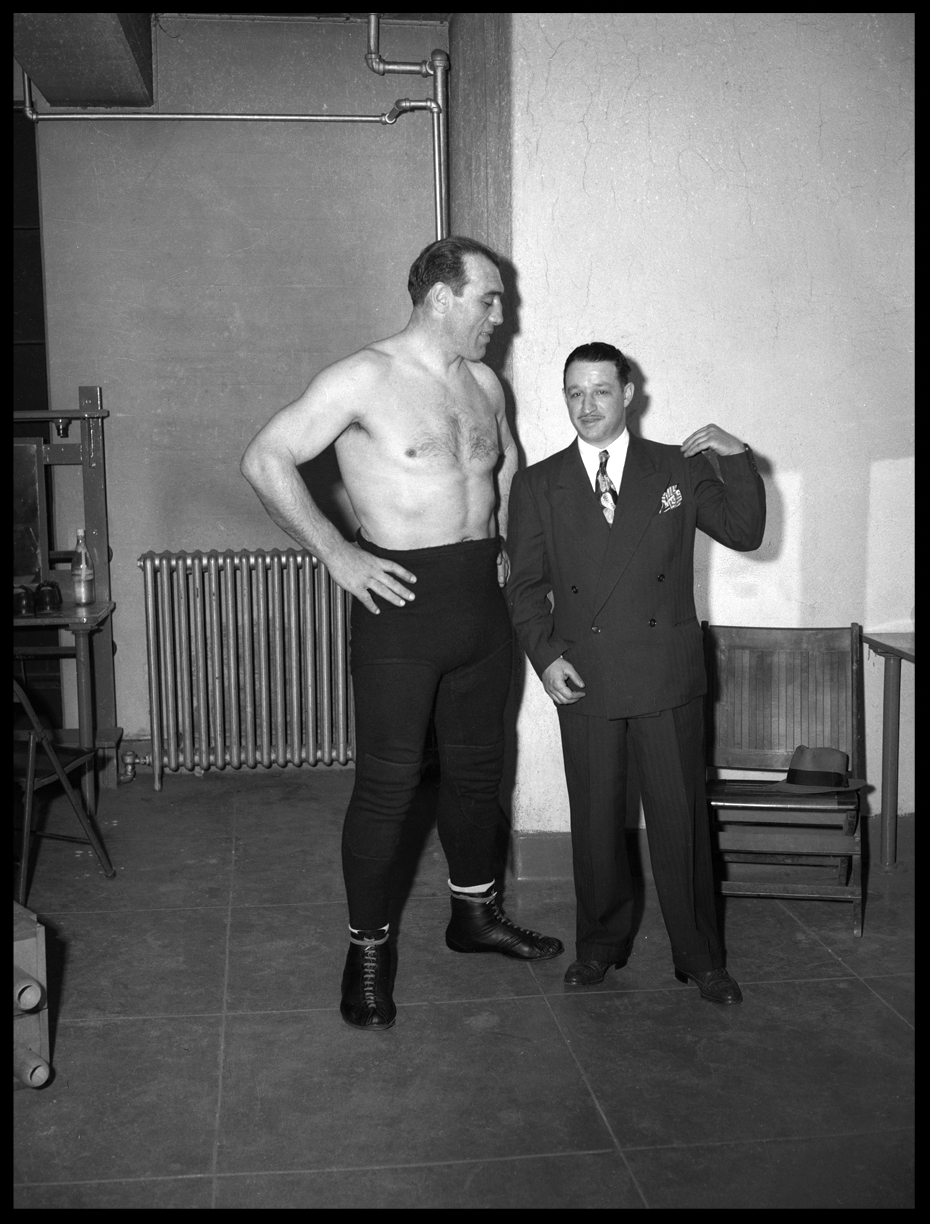 Boxings Heavy Weight Chapion Primo Carnera in wrestling tights c.1945 from the original 4x5 negative