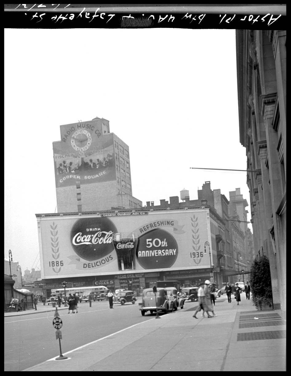 50th Anniversary Coca-Cola Advertisement at Astor Place, East Village, NYC c.1936 from the 4x5 negative