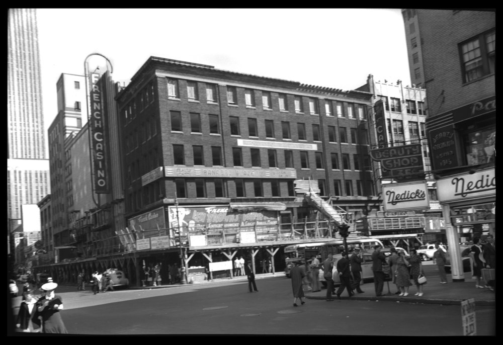 50th St at 7th Ave c.1940 from original 4x5 negative