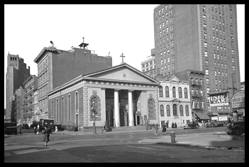 St. John's Church in Greenwich Village, 6th Ave and Washington Pl. c.1939 from original 4x5 negative