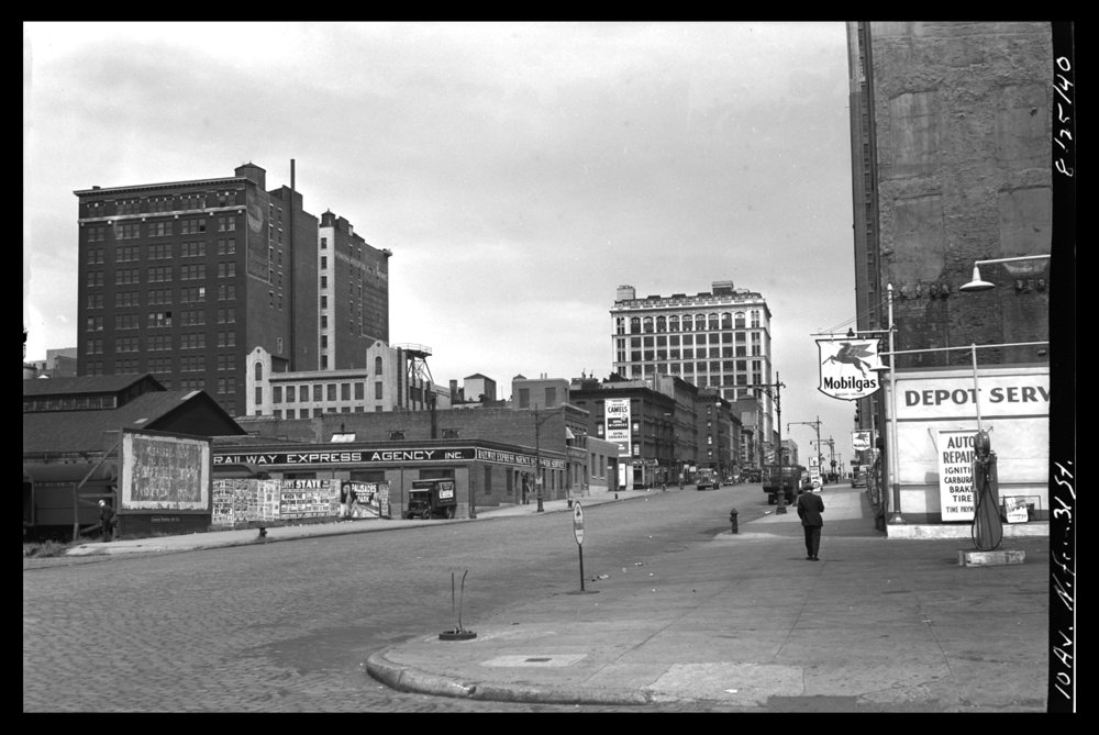 Chelsea NYC 10th ave at 31 St c.1940 from original 4x5 negative