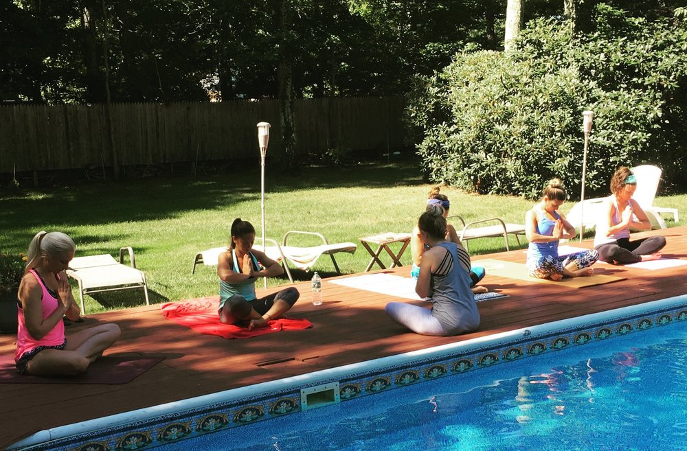"""Taryn's poolside yoga class was the  perfect  kickoff to my  bachelorette weekend!  While we did have some yogis in the group, she made sure my non-yogi friends could enjoy the practice as well! The class was relaxing, enjoyable, and the playlist was so fun! I would happily recommend a private party for any future bride!""    –  Lauren, Bride-to-Be"