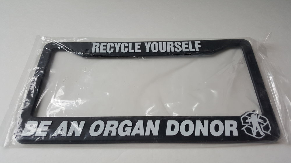 recycle yourself be an organ donor license plate frame hopeless