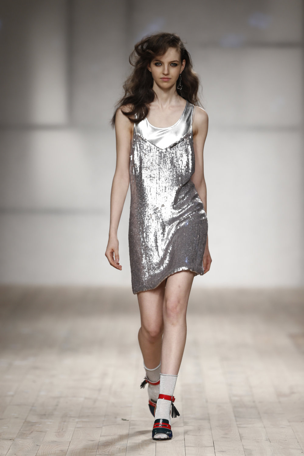 silver beaded short dress  One available size 36 Original Price 654€ | Discount Price 327€ Ref. LCss17s19