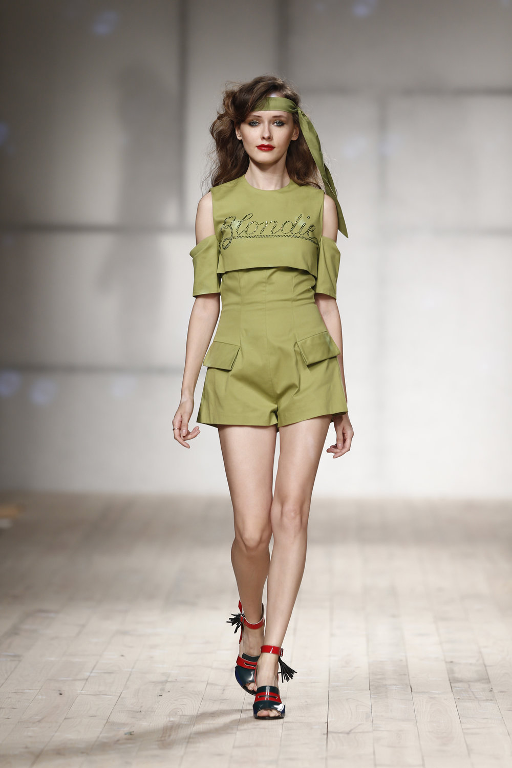 green jumpsuit with swarovski crystals  One available size 36 Original Price 498€ | Discount Price 249€ Ref. LCss17s31