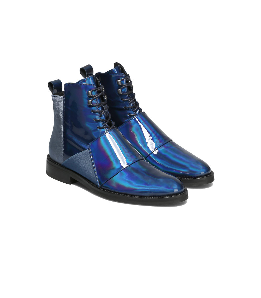 Blue vinyl Velvet boots  two available sizes 43 / 44 Original Price 249€ | Discount Price 84€ Ref. LCFW17HSo2  *Available in also in black vinyl velvet