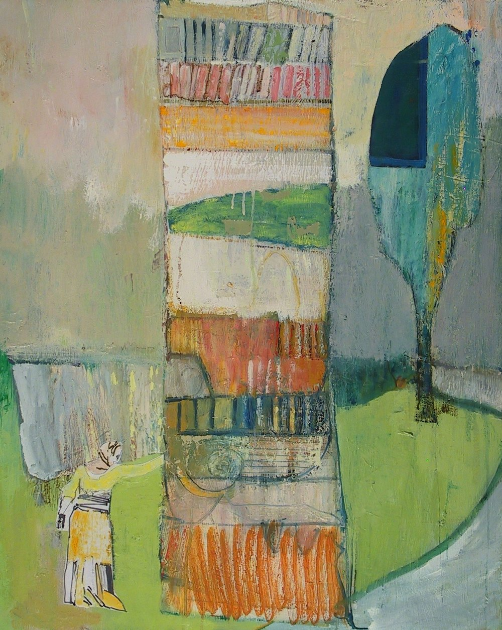 "The Tower  2018  oil and collage on canvas  30"" x 24"""