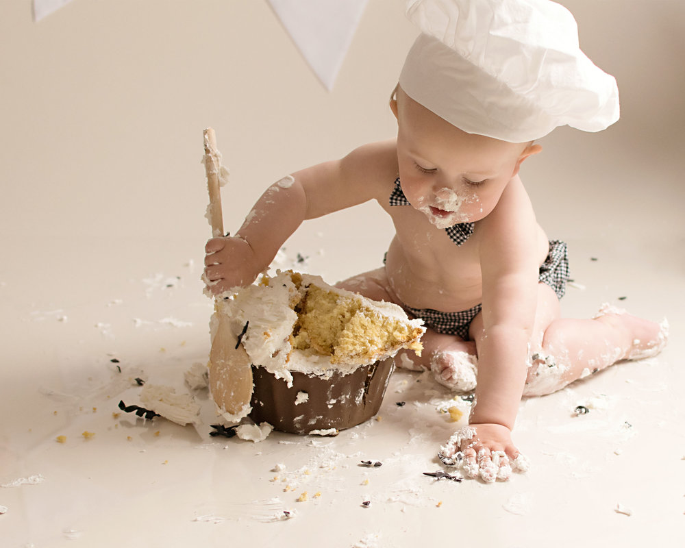Chef Birthday cake smash photography in Yeovil Somerset