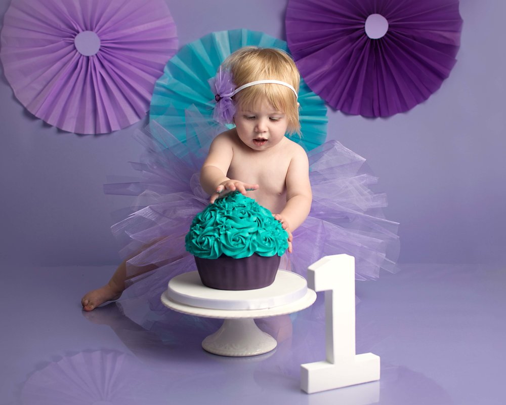 Purple and teal Birthday cake smash photography in Yeovil Somerset
