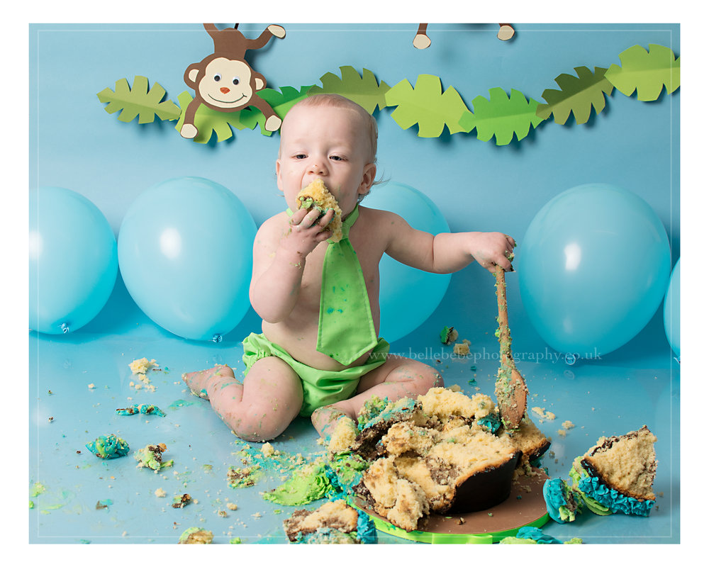 Monkey Jungle Theme Cake Smash Photography in Yeovil Somerset