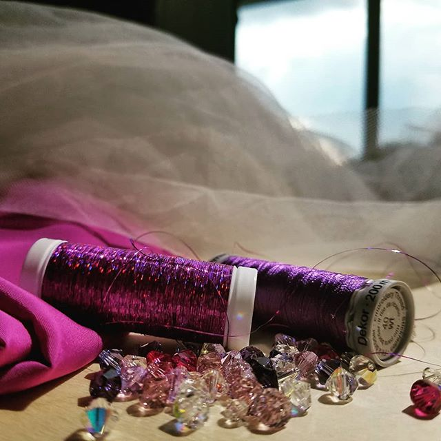 Sneak peak of a few key ingredients for the gowns in this year's Bride at the Museum show at @ncmuseumhistory  #brideatthemuseum #raleighwedding #ultraviolet #sparkle #customweddingdress #customweddinggown
