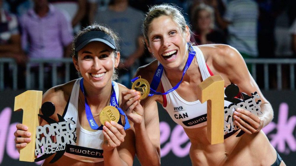 Melissa Humana-Paredes (left) and Sarah Pavan (right) win Canada's first FIVB World Tour title at the Porec Major in Croatia