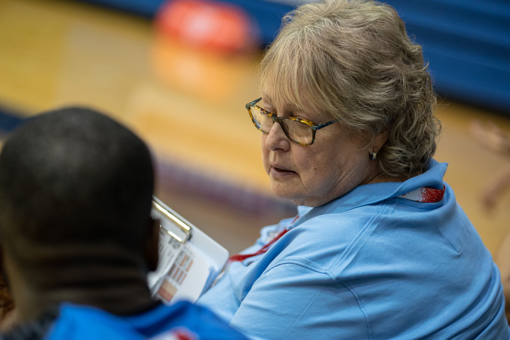 Brenda Willis coaching Magnes Spartans during the 2018 season
