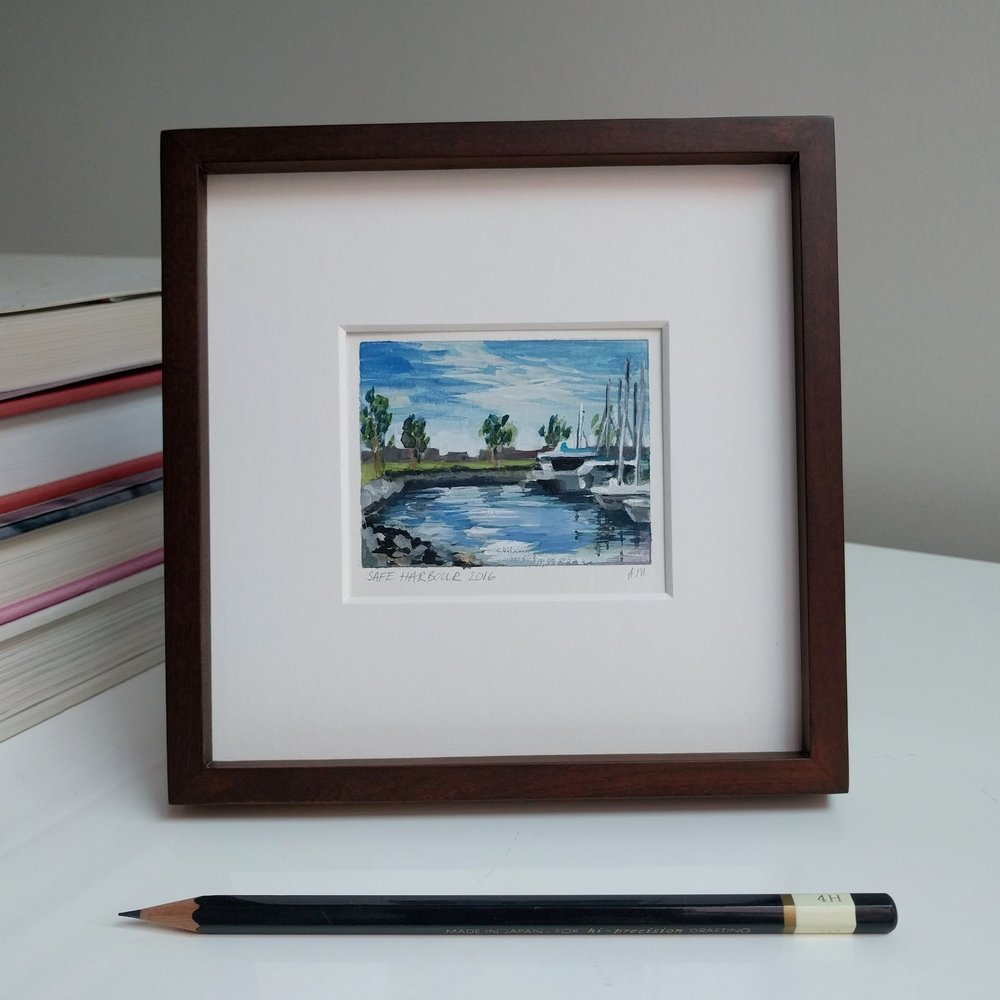 small miniature tiny art plein air framed watercolour painting of sailing yachts in San Diego Bay marina