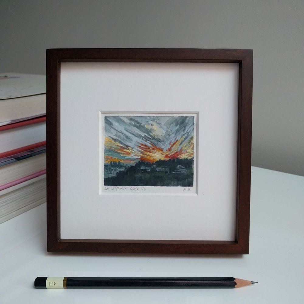 small miniature plein air framed watercolour painting of golden hour sunset in Hollywood Hills Los Angeles California