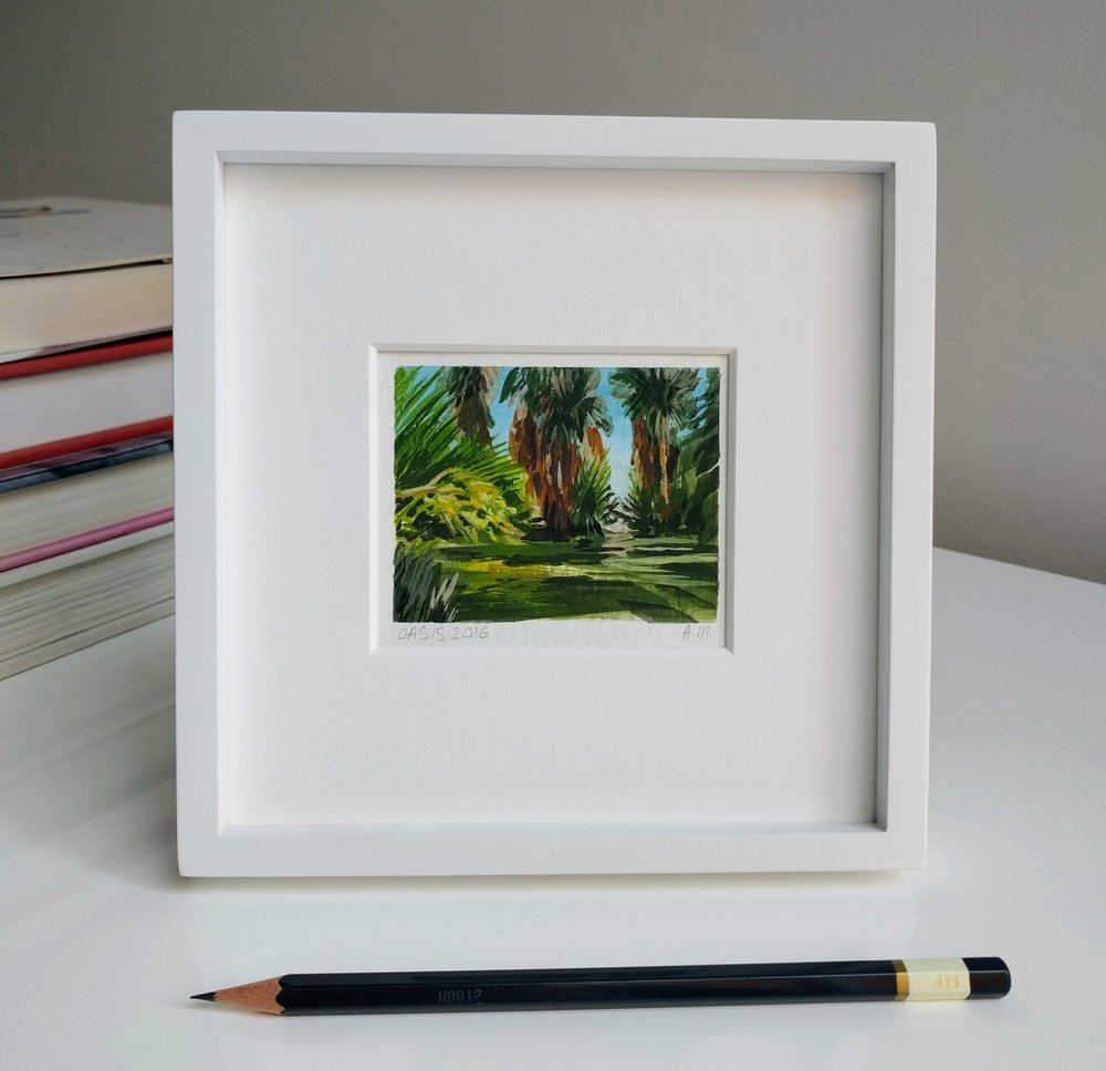 My Small Paintings miniature tiny art plein air watercolour framed painting of desert oasis with palm trees in 29 Palms Inn California