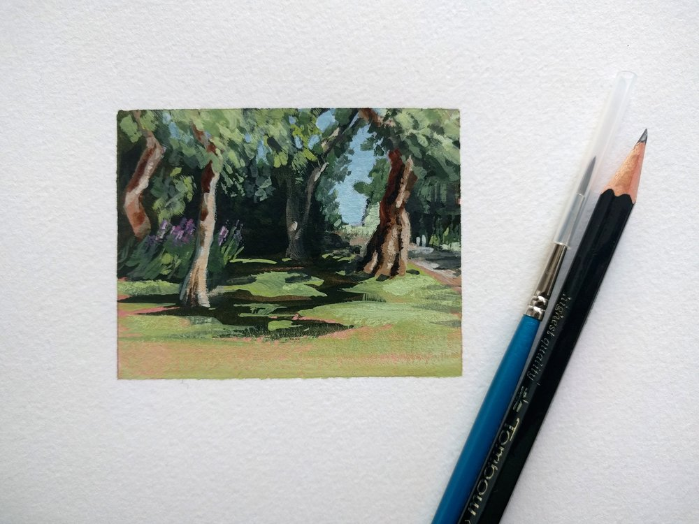 My Small Paintings framed miniature watercolour tiny art of shade trees in summer garden California - sketchbook view