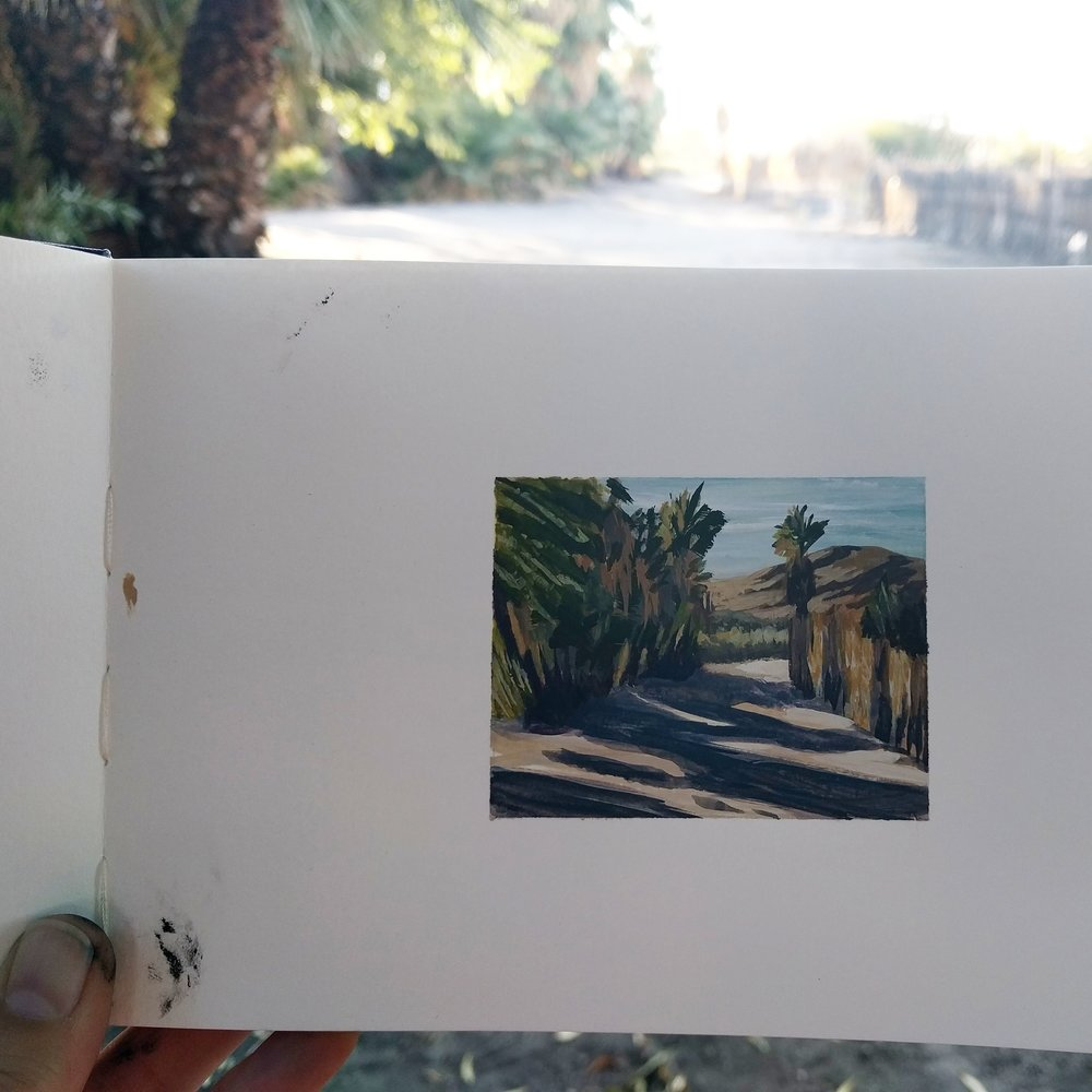 My Small Paintings miniature watercolour tiny art of palm tree-lined path at sunset in the California Desert 29 Palms Inn - work in progress view