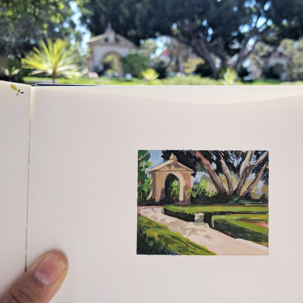 My Small Paintings miniature tiny art plein air watercolour painting of secret walled summer garden in Balboa Park San Diego California