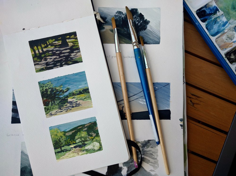 miniature watercolour plein air landscape paintings in a sketchbook by My Small Paintings