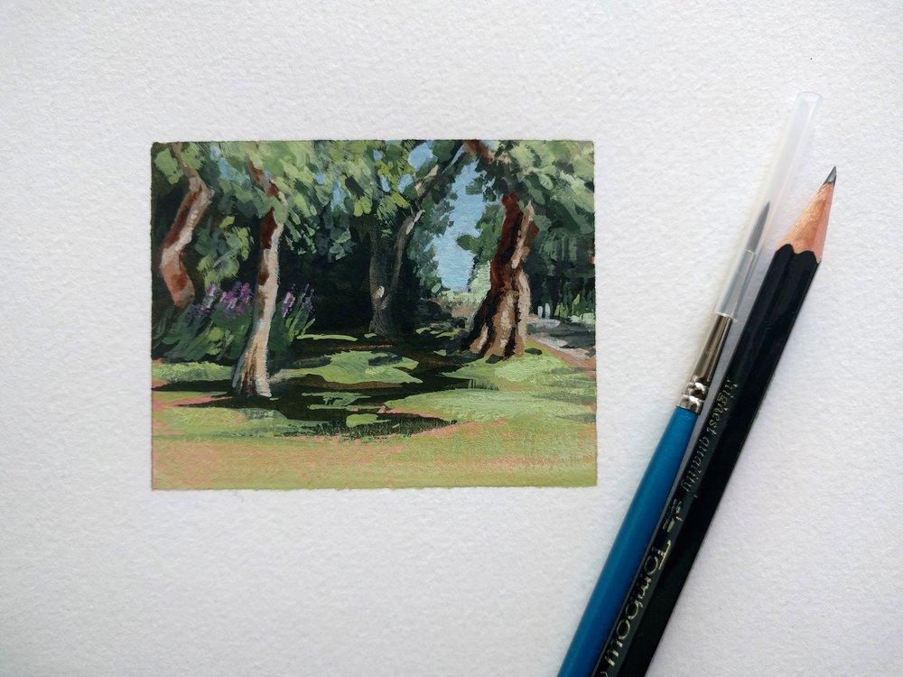 Miniature plein air watercolour small painting of a shady garden in summer